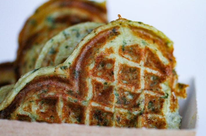 Savoury waffles - healthy kids recipes - aubergine and feta - closeup-2