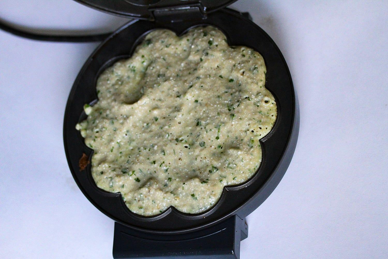 Savoury waffles - aubergine and feta - mixture in waffle iron-2