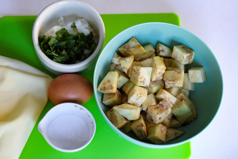 Savoury waffles - healthy kids recipes - aubergine and feta - prepared ingredients
