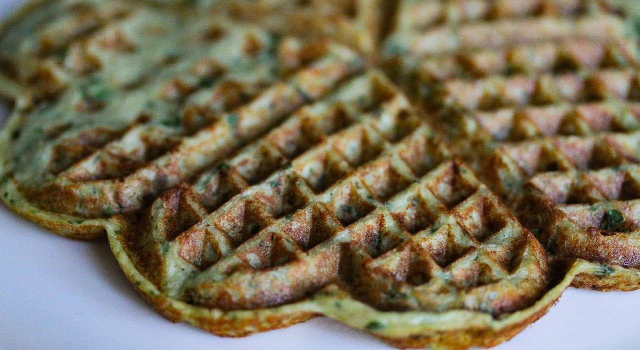Savoury waffles - healthy kids recipes - aubergine and feta - closeup