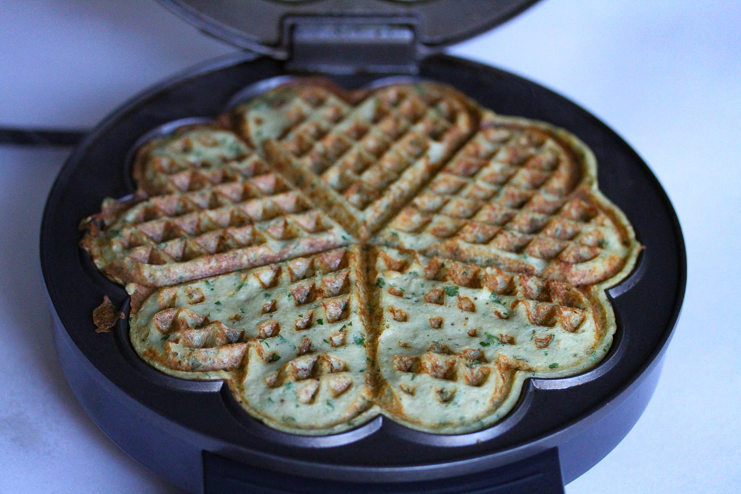 Savoury waffles - healthy kids recipes - aubergine and feta - mixture in waffle iron