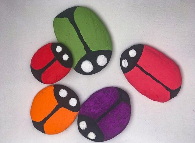 Rock Craft - Ladybird Pebbles - Step 2 Add more coats of paint