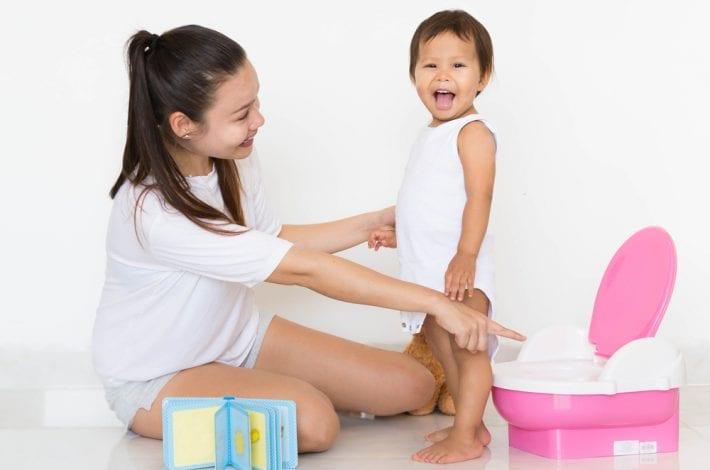 potty training - mother praising toddler