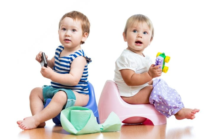 potty training - two toddlers on the potty