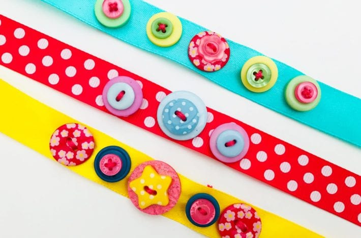 Fun kids crafts - button bracelets