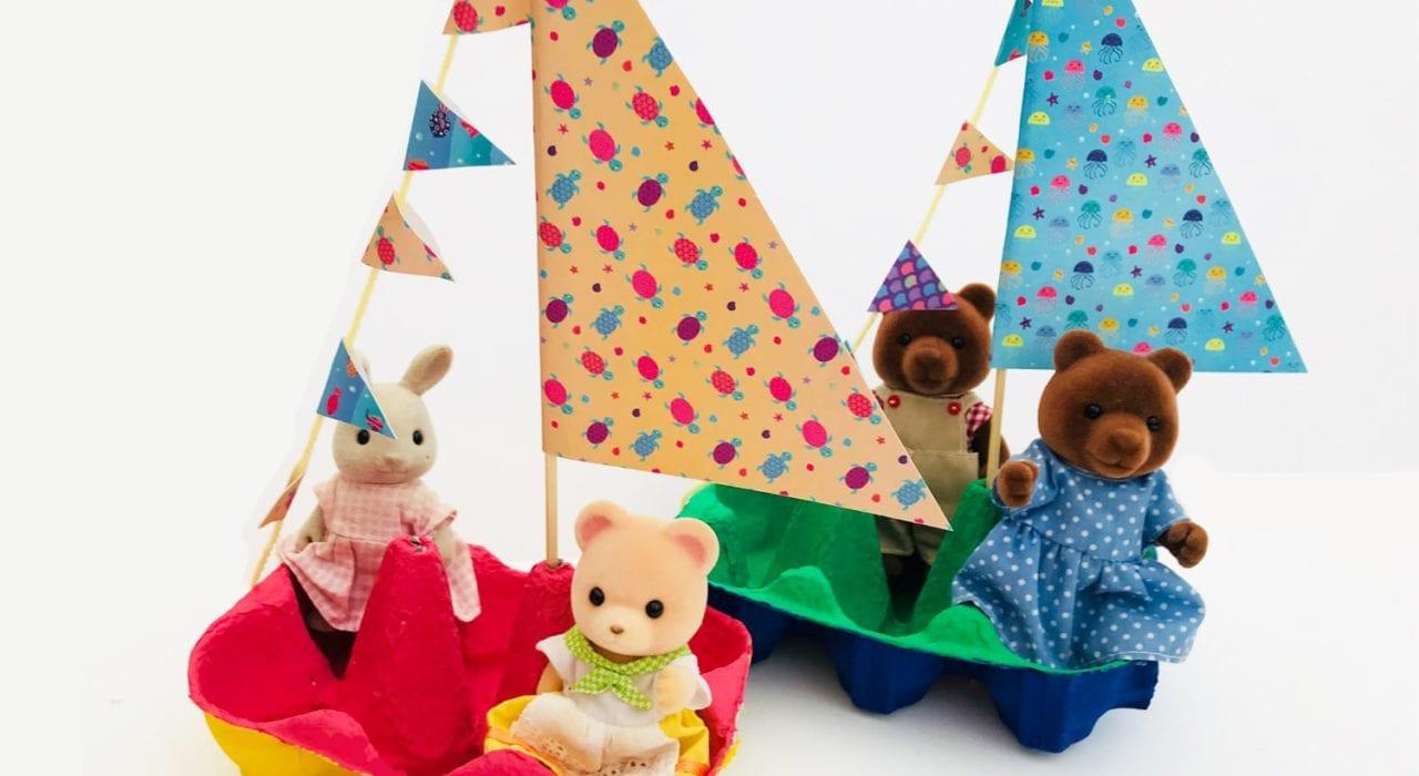 Fun Kids Craft - Little egg box boats - feature image