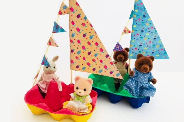 Fun Kids Craft - Little egg box boats - feature image