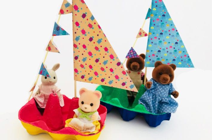 Fun Kids Craft - Little egg box boats - make the bunting