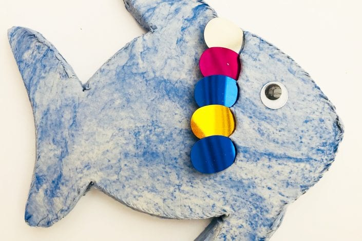 Kids Craft - Rainbow Fish - step 3 add sequins