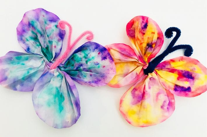 Fun kids crafts coffee filter butterflies finished result two butterflies