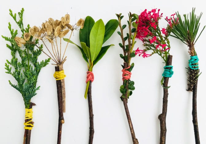 Fun toddler crafts mother natures paintbrushes tied up