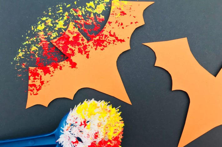 Halloween Crafts Kids - spooky bats - step 2 paint around them