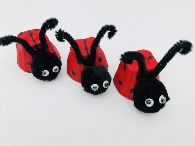 Kids Crafts Ladybird Egg Cups with antennae