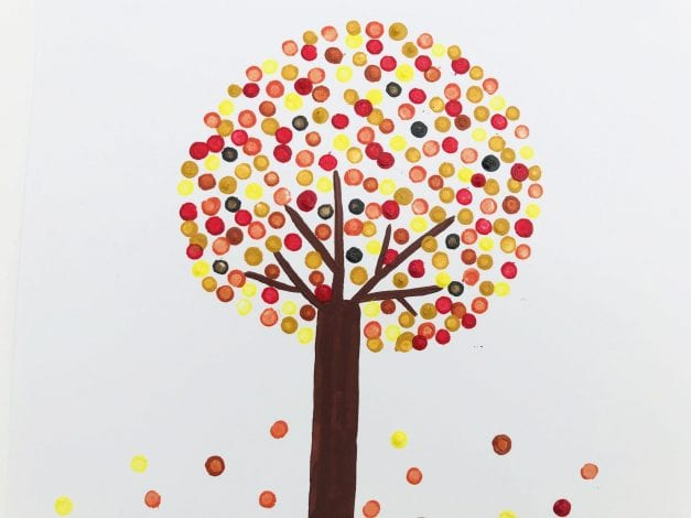 Kids Crafts Pointillism Tree finished result with falling leaves