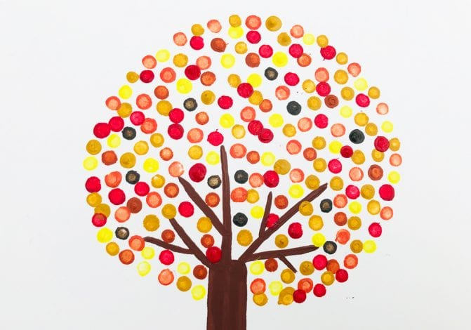 Kids Crafts Pointillism Tree full set of autumn leaves added