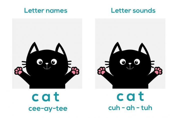 Phonics image and letters teaching with the word cat