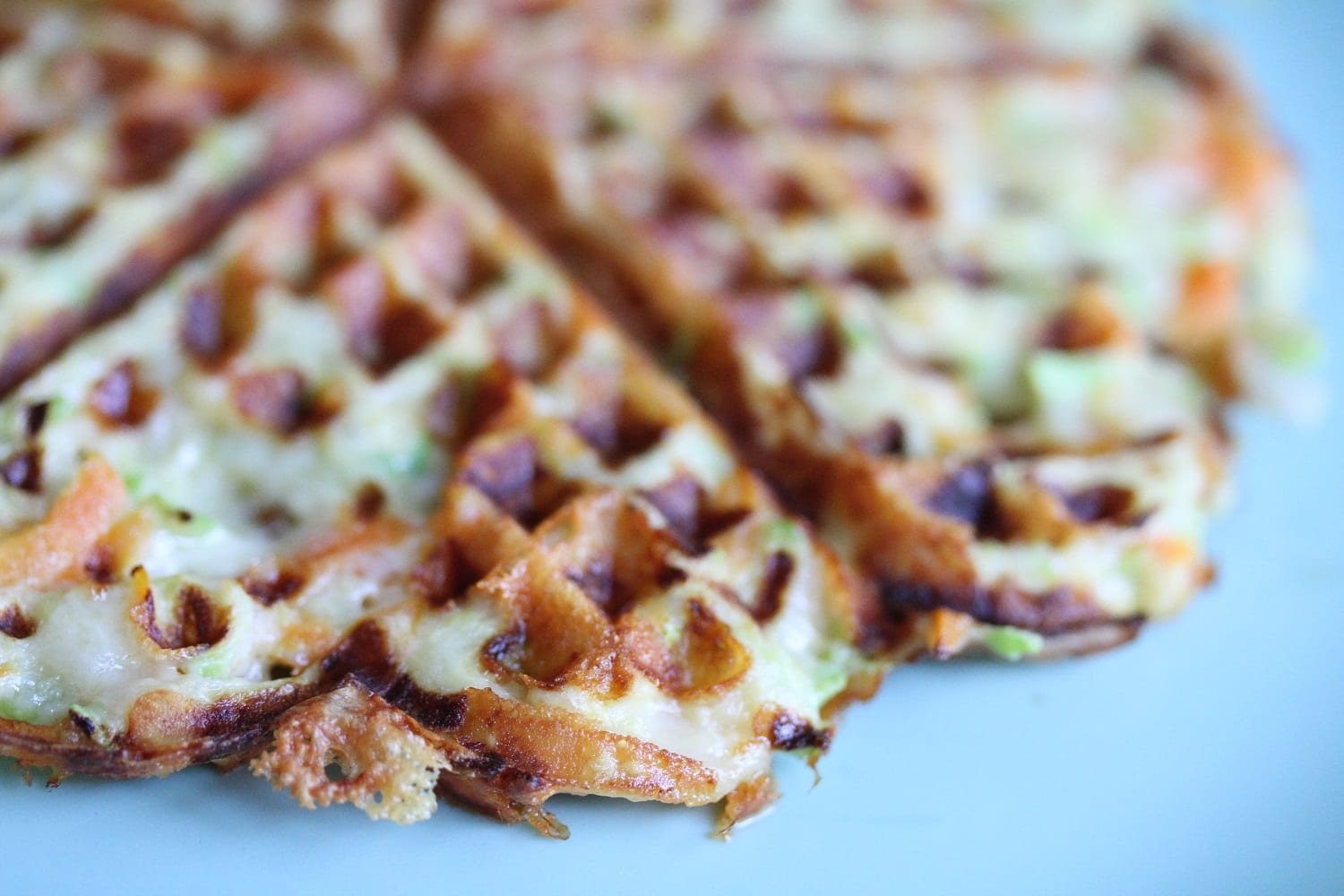 Vegetable waffles carrot and courgette - waffle ready on plate