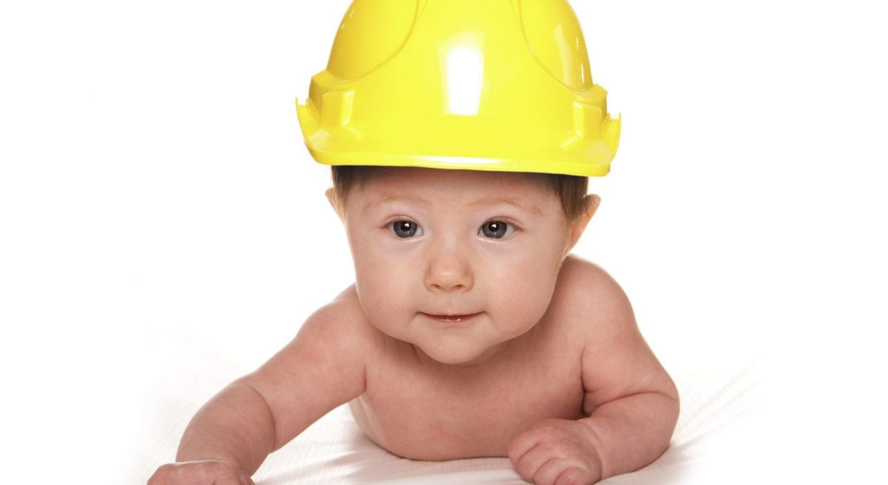 baby with hard hat - baby proofing