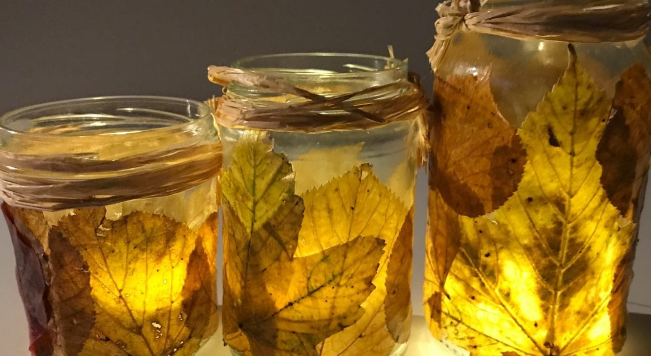 fun kids crafts awesome autumn leaf lanterns - feature image