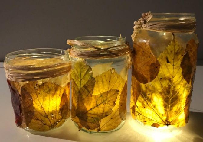 fun kids crafts - awesome autumn leaf lanterns - lit up