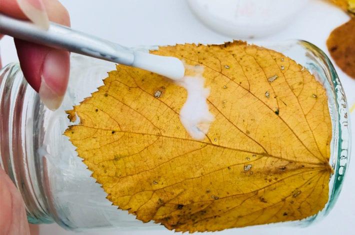 fun kids crafts - awesome autumn leaf lanterns - step 1 add glue