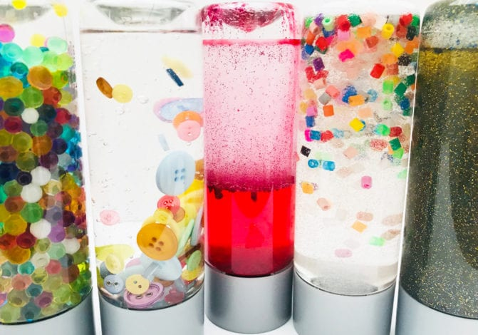fun toddler craft - sensory bottles all finished 1