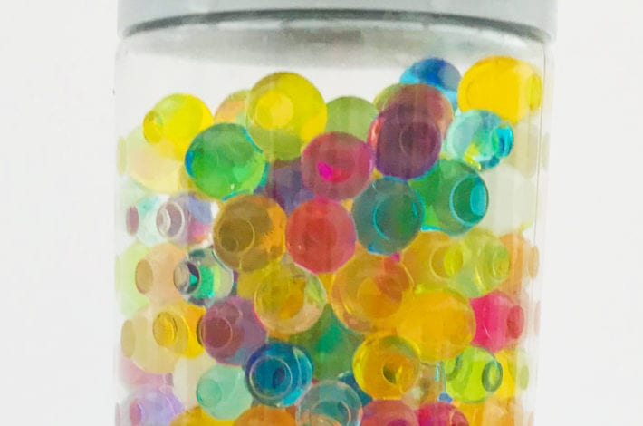 fun toddler craft sensory bottles - water beads finished result