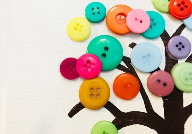 kids crafts button tree build up buttons