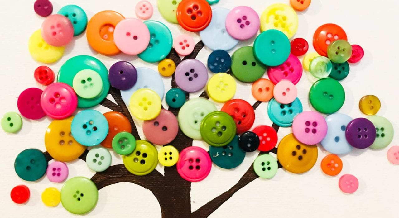 kids crafts button tree finished tree