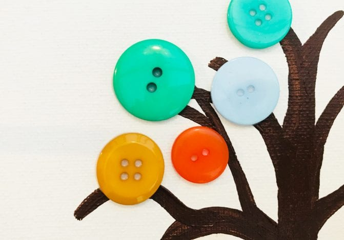 kids crafts button trees start gluing on buttons