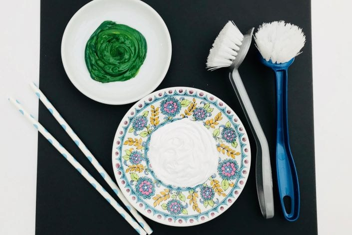 what you need for fun kids craft dandelion print - paper brush paint and plate