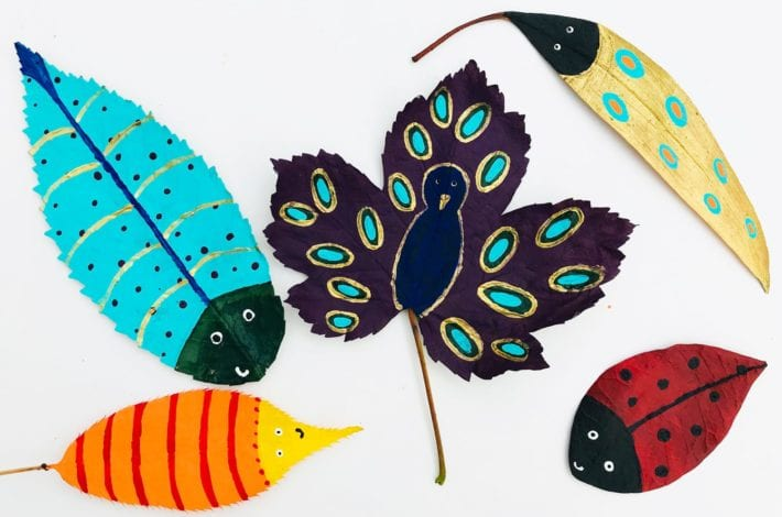 kids crafts little leaf bugs - finished result