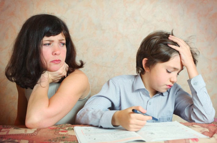 mother concerned about son with difficult homework problem