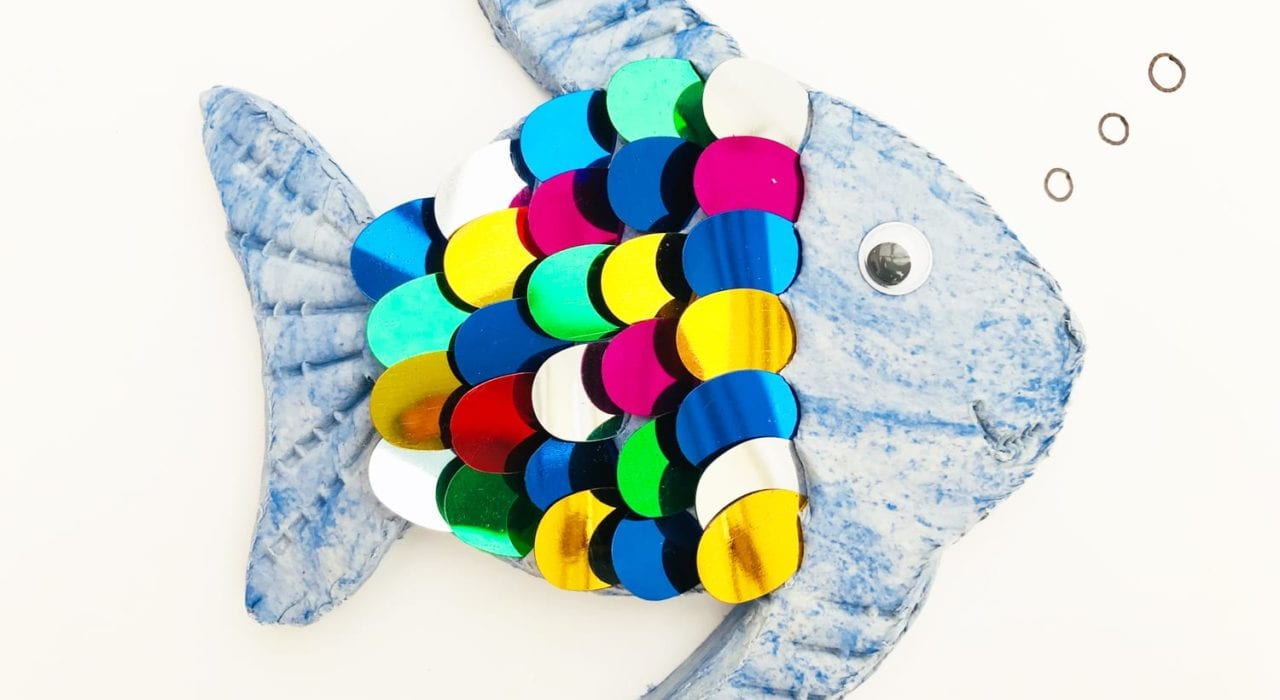 fun kids crafts - rainbow fish finished