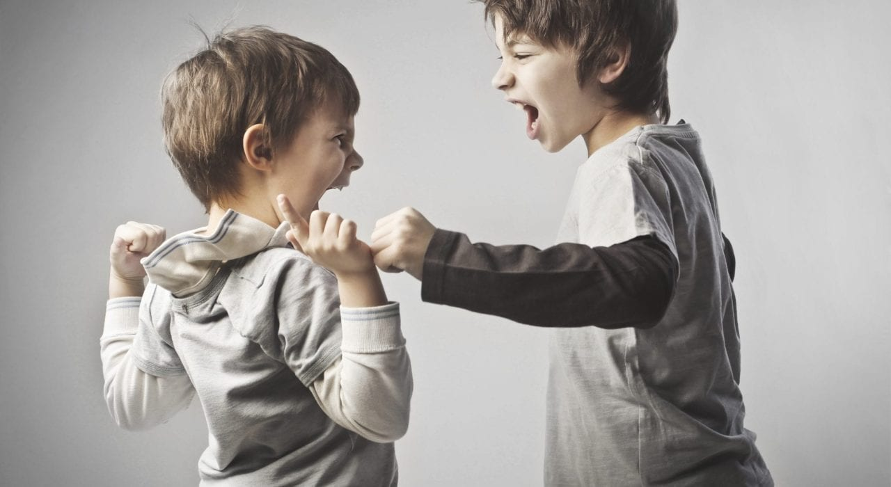 two children fighting showing aggressive behaviour