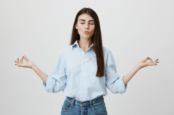 woman staying calm
