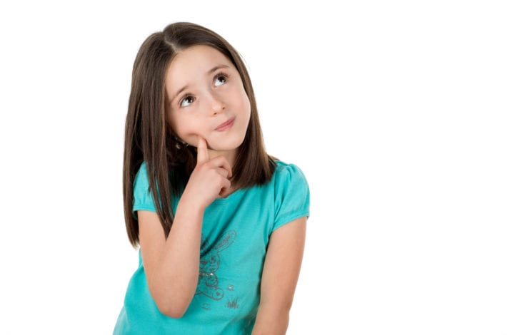 young girl making a decision and thinking