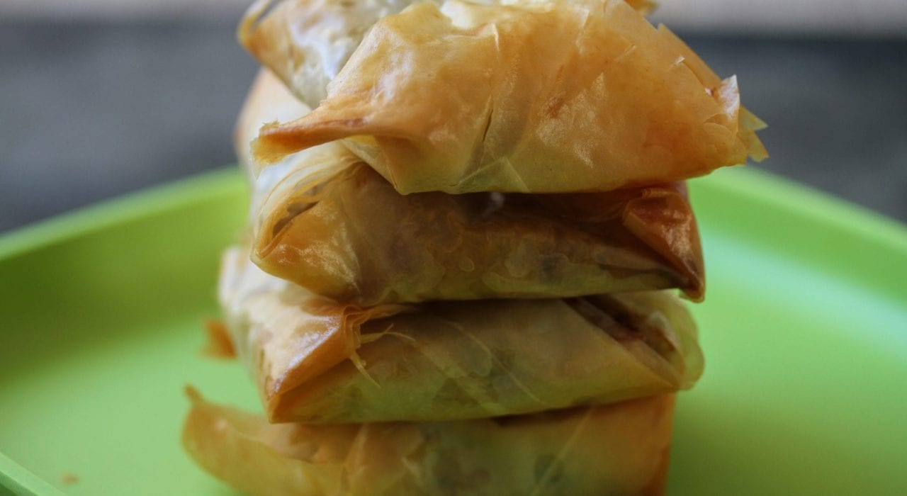Kids dinner - chicken filo parcels - chicken mushrooms and spinach filo pies - feature