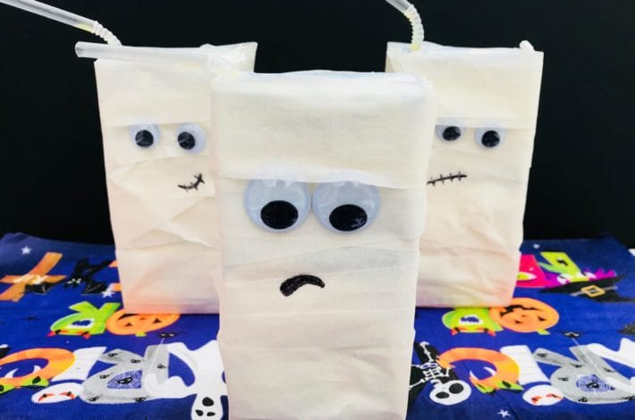 halloween party decorations - juice box mummies - halloween crafts - halloween kids crafts