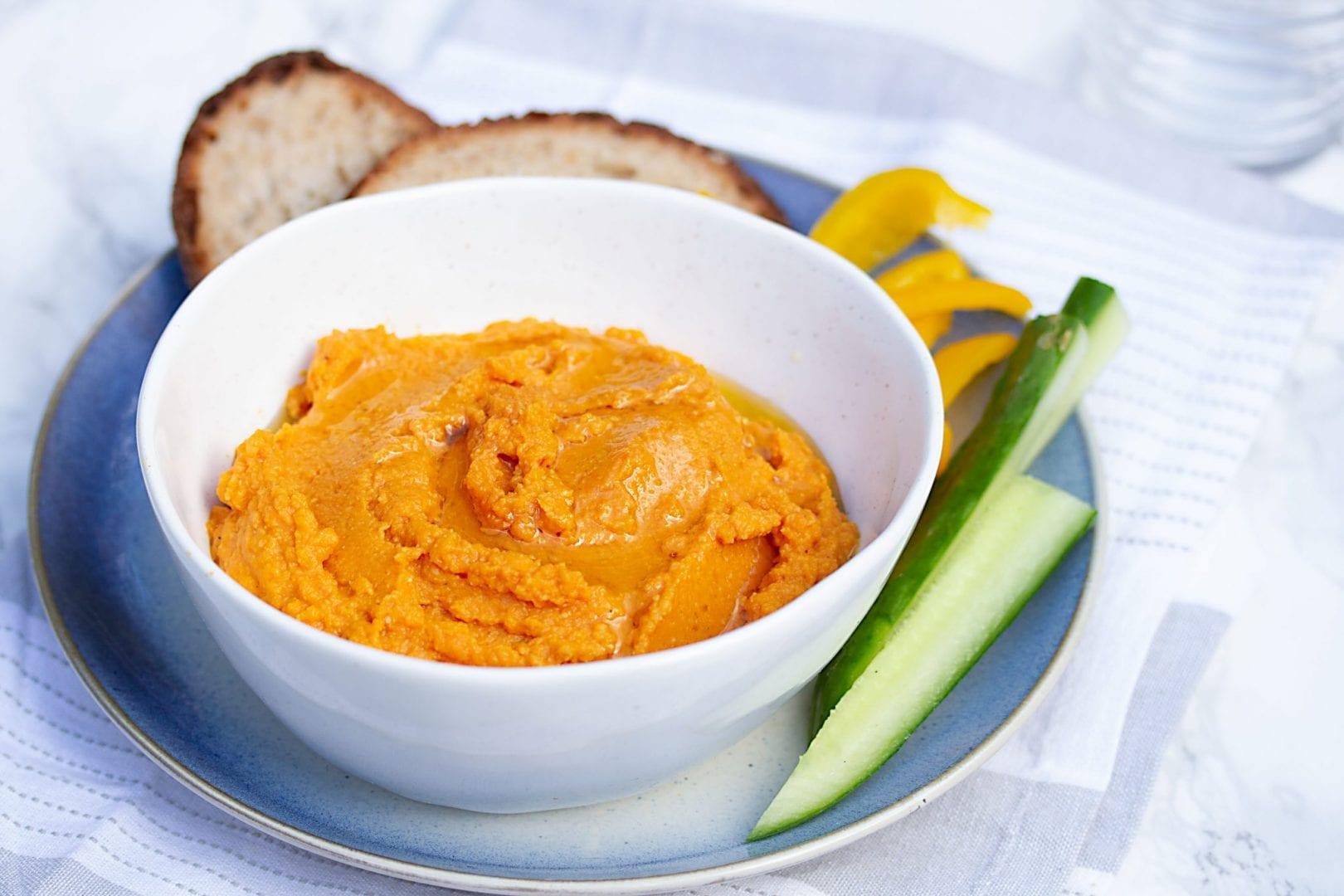 pumpkin hummus - healthy halloween recipe