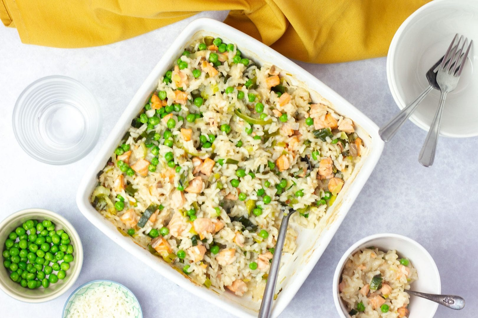 baby recipe - weaning recipe - first foods - risotto with salmon peas and leeks