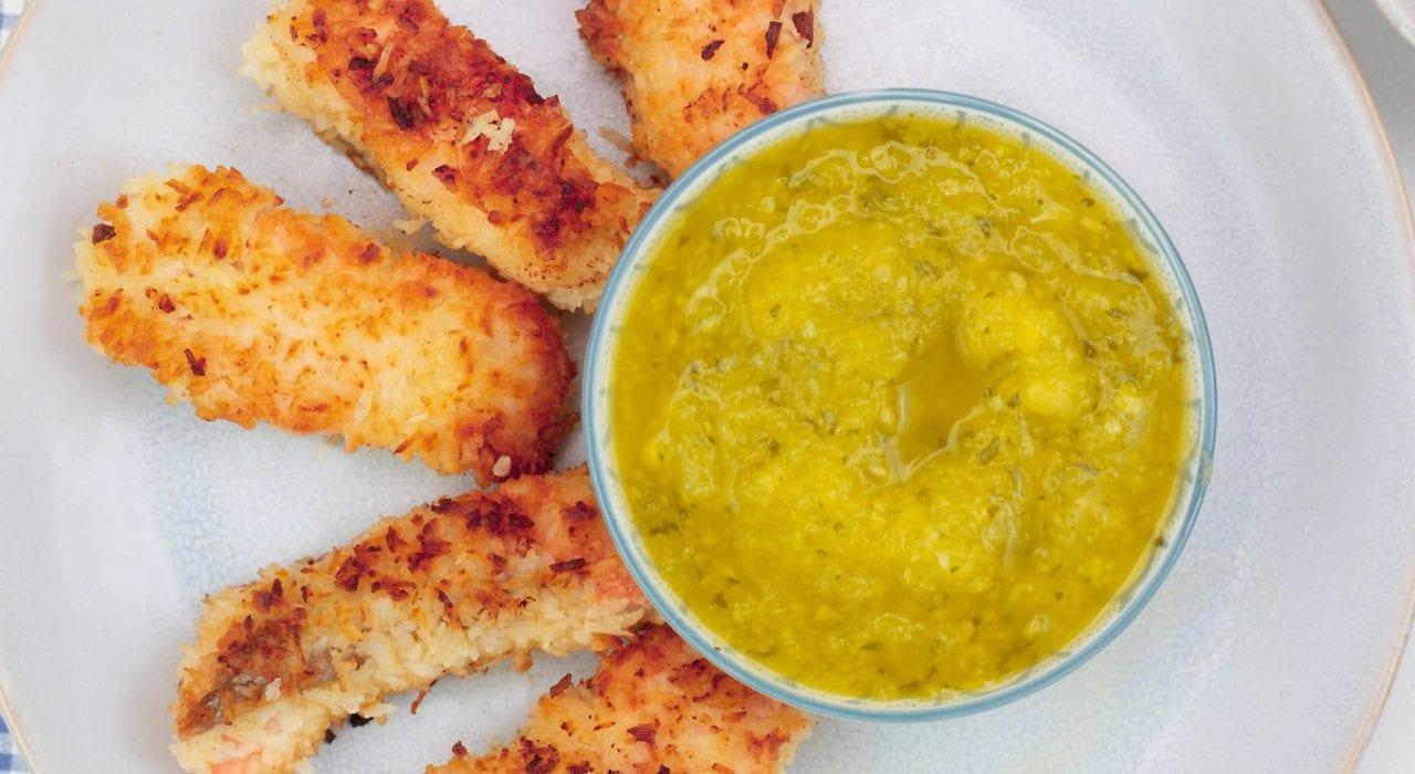 gluten free kids meals - salmon goujons - fish fingers - coconut encrusted salmon goujons