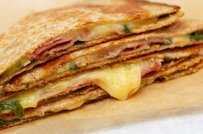 kids quesadillas - ham and cheese quesadilla - packed lunches - lunch box recipes