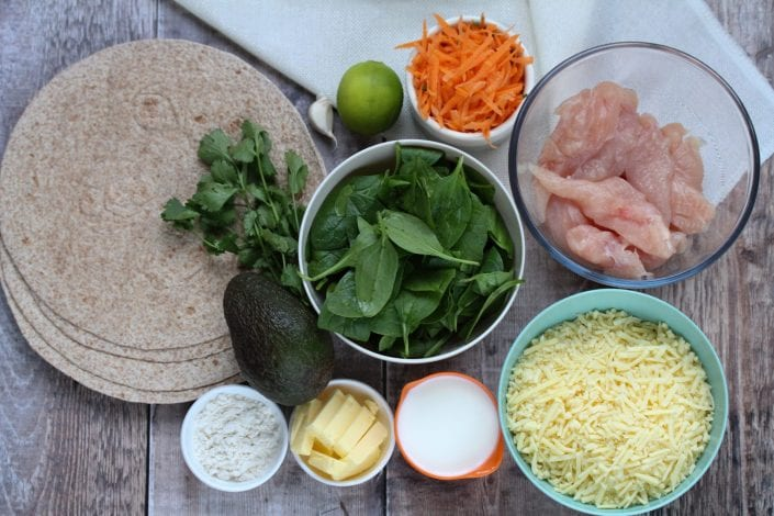 kids wraps - packed lunches - lunch box ideas - chicken wraps