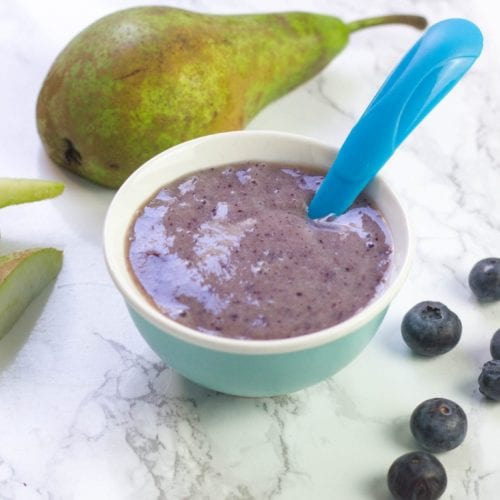 no cook baby puree with blueberries, bananas and soft ripe pears