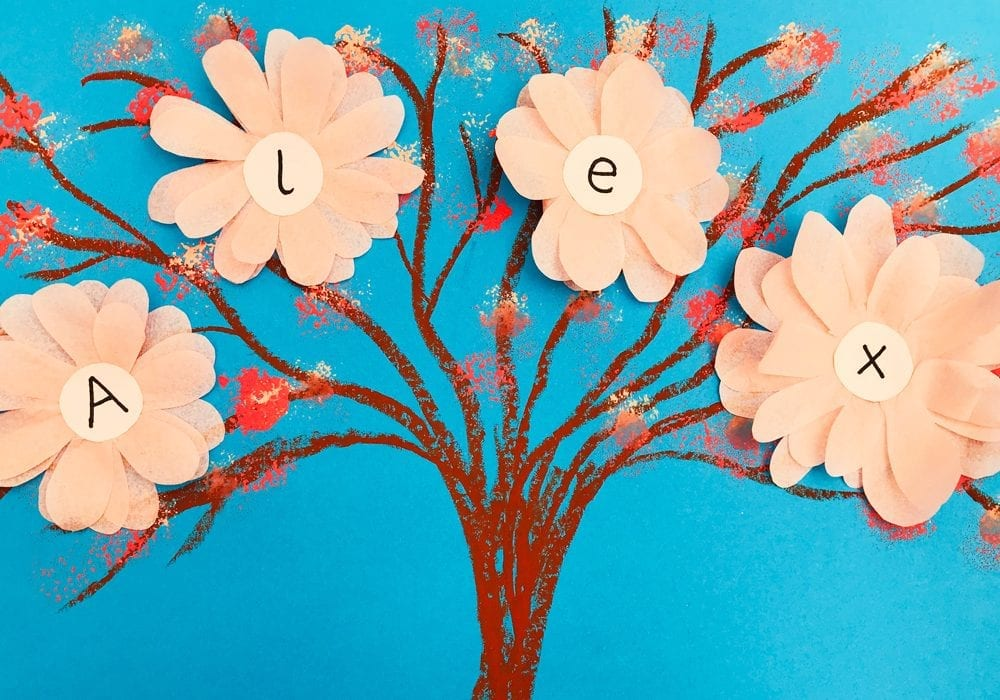 phonics tree craft with blossoms - learn the letters to spell your name with this fun letter craft