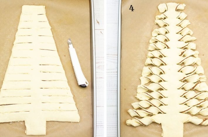 Puff pastry Christmas tree with a nut free chocolate spread - impressive to look at and simple to make