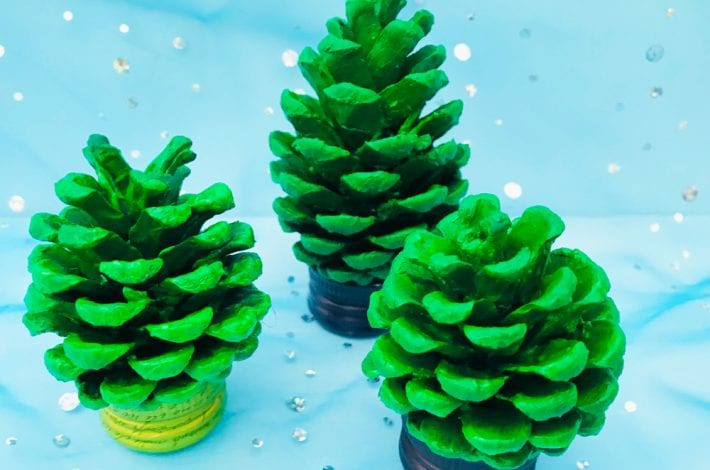 pom pom pine cone craft - enjoy this christmas craft with kids