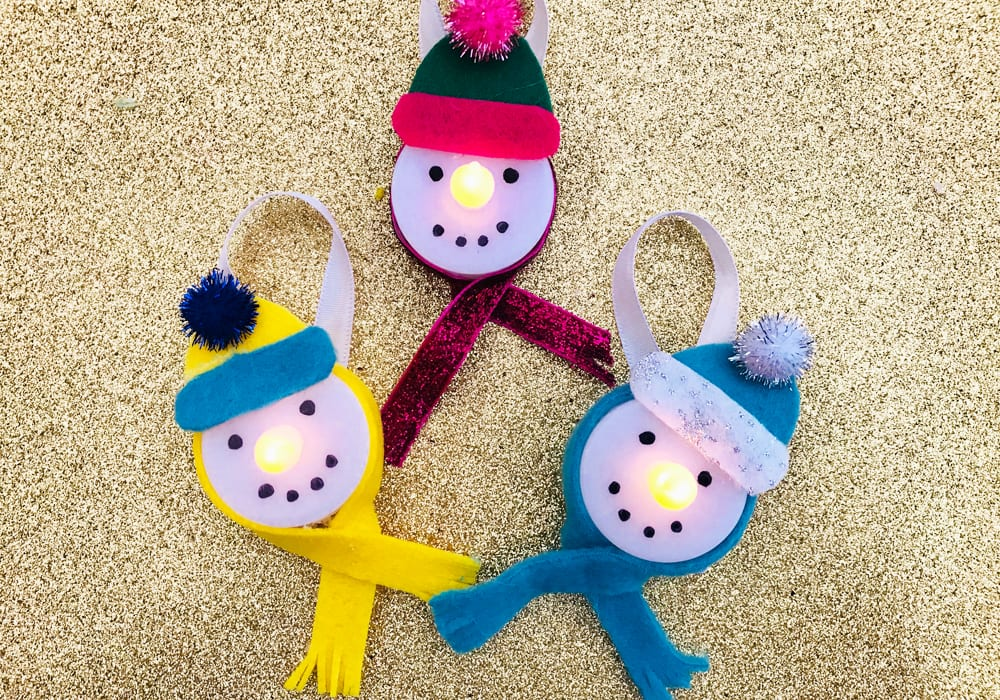 snowman craft - light up snowmen - christmas craft for kids