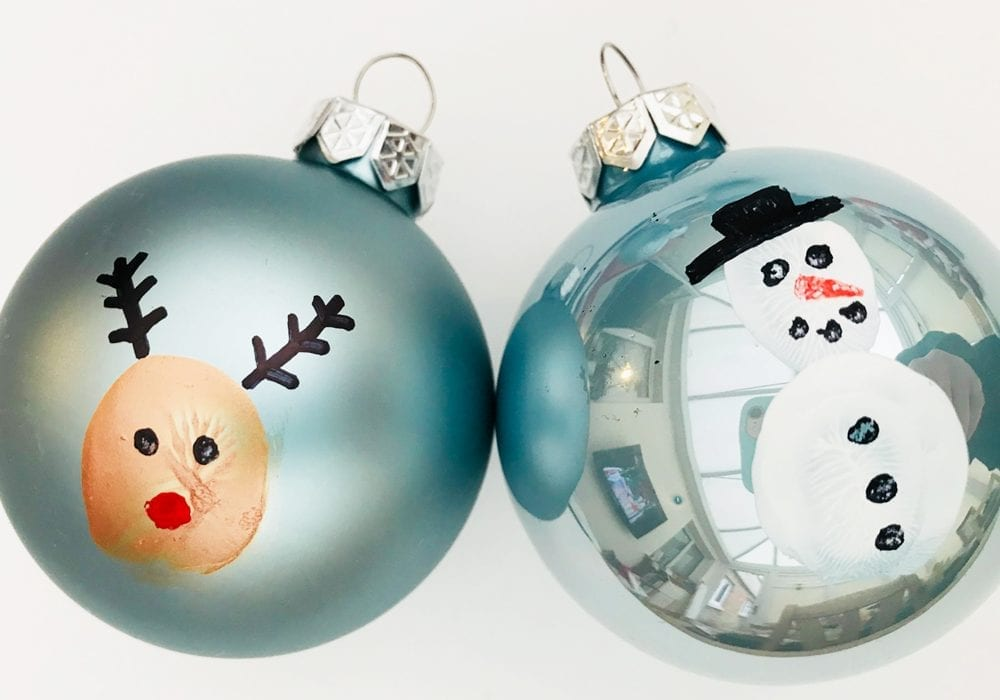 thumbprint baubles - reindeer thumbprint ornaments